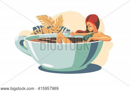 Woman Drinking Coffee Vector Illustration. Girl Relaxing