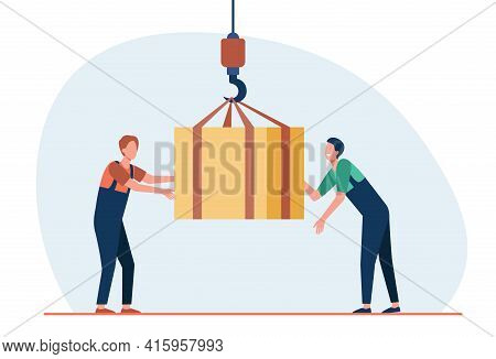 Cartoon Working Men Taking Off External Load With Lifting Crane. Flat Vector Illustration. Two Const