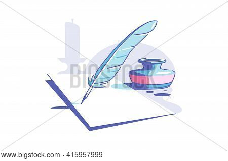 Paper And Feather Vector Illustration. Clean Sheet