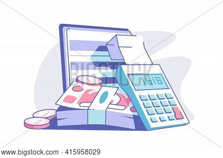 Calculator And Banknotes Vector Illustration. Cash Money