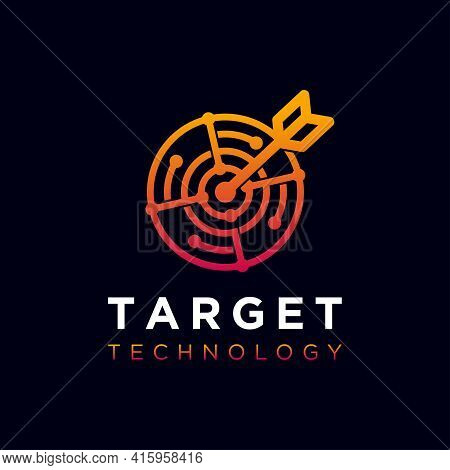 Target Logo Icon Design Template. Technology Abstract Line Connection Circle Vector Logotype