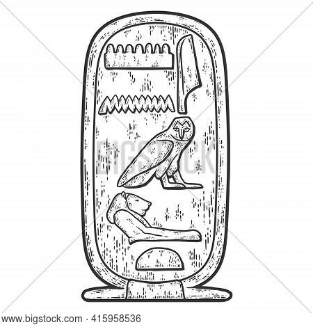 Cartouche Egyptian. Sketch Scratch Board Imitation. Black And White.