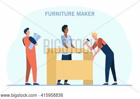 Cartoon Craftsmen Making Furniture Flat Vector Illustration. Furniture Makers Designing Customized W