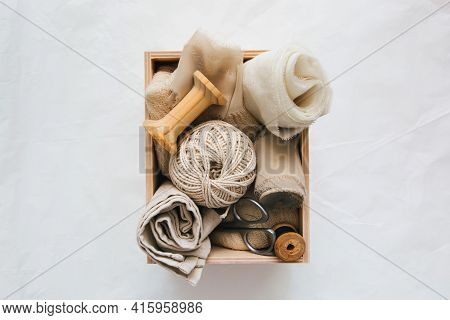Box With Accessories For Sewing And Needlework: Threads, Fabrics, Scissors. Sewing And Needlework Co