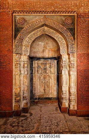 Arch inside Isa Khan tomb, Humayun's Tomb complex, in Delhi, India