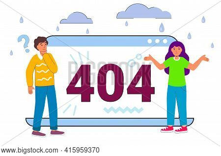 404 Error Page Not Found Concept Illustration Of People Using Laptops Having Problems With Website W