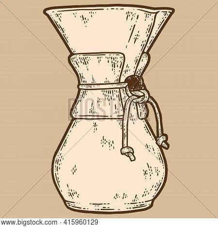 Filter Coffee Brewer. Sketch Scratch Board Imitation, Sepia.