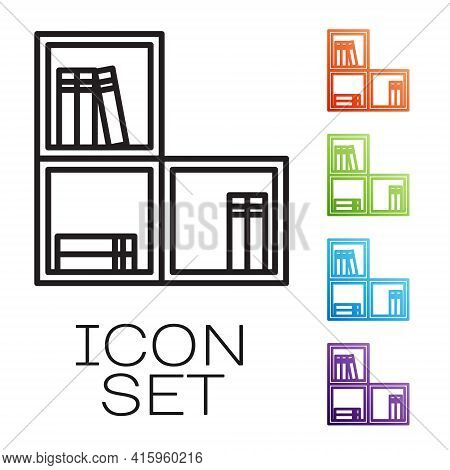 Black Line Shelf With Books Icon Isolated On White Background. Shelves Sign. Set Icons Colorful. Vec