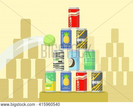 Cartoon Pyramid Of Lemonade Cans Flat Vector Illustration. Tennis Ball Flying Into Pyramid Of Differ