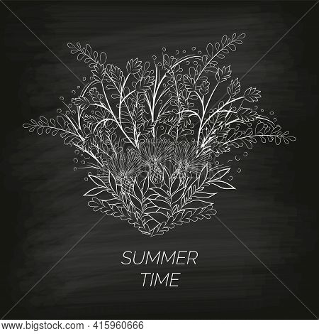 Summer Floral Background In The Form Of A Wreath Of Cornflowers And Leaves Drawn By Hand On The Blac