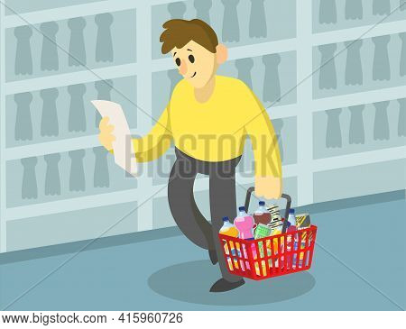 Cartoon Man Doing Grocery Shopping With List In Supermarket. Flat Vector Illustration. Citizen Makin