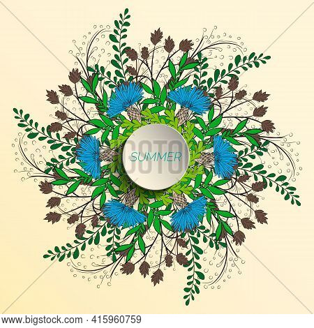 Summer Floral Background In The Form Of A Wreath Of Cornflowers And Green Leaves. For The Design Of