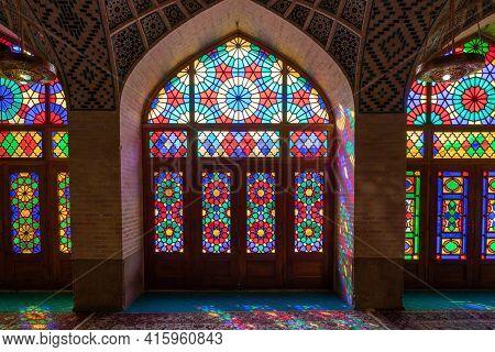 Shiraz,iran - 04.07.2019: Interior Of The Pink Mosque In Shiraz. Islamic Ornaments, Sun Shines Throu
