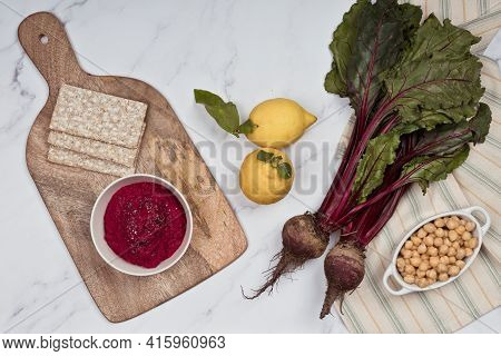 Purple Hummus With Red Cabbage, Purple Cabbage, Ideal Snack For Diets