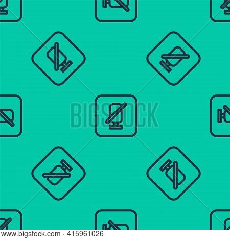 Blue Line Mute Microphone Icon Isolated Seamless Pattern On Green Background. Microphone Audio Muted