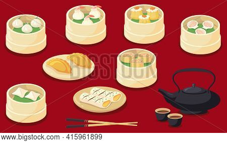 Chinese Or Taiwan Served Food Flat Pictures For Web Design. Cartoon Traditional Asian Dumplings And