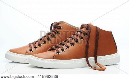 Clean Brown Leather Pair Sneakers