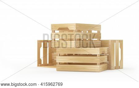 Empty Wooden Crates Are Stacked And Scattered Around Isolated On White. 3d Illustration
