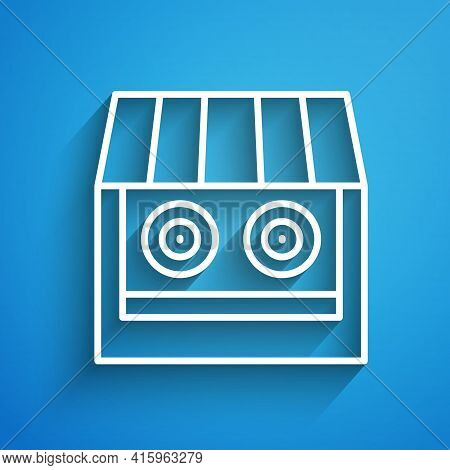 White Line Shooting Gallery Icon Isolated On Blue Background. Shooting Range. Long Shadow. Vector
