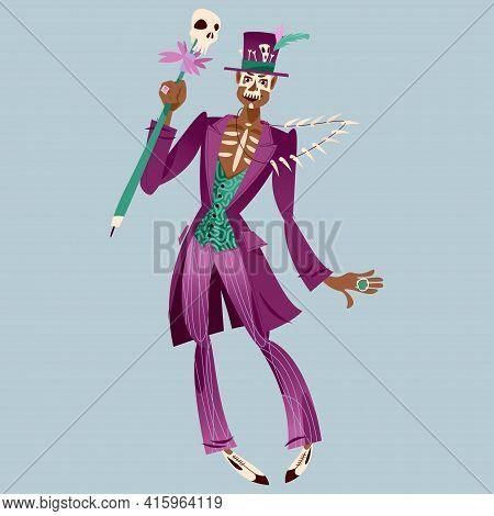 Dancing Man In Skull Makeup Dressed In Baron Samedi (baron Saturday) Costume. Vector Illustration