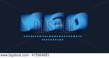3d Magic Alphabet, Twisting And Blending Funnel, Blue Hurricane Font For Modern Logo, Headline, Mono