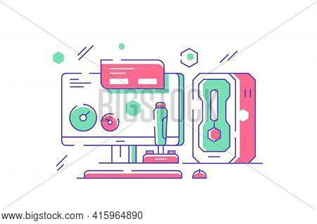 Computer Set For Gaming And Fun Vector Illustration. Column, Monitor, Screen, Mouse, Keyboard And Jo