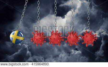 Sweden Flag Ball Hits Into A Line Of Coronavirus Molecules. 3d Rendering