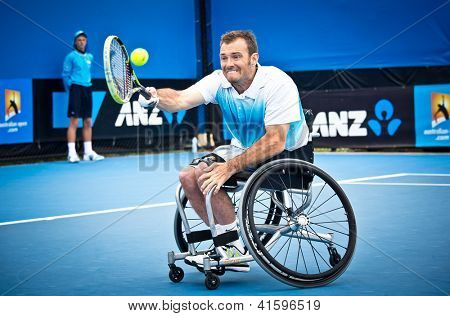 MELBOURNE - JANUARY 26: David Wagner wins the Quad Wheelchair Singles title over Andrew Lapthorne of Great Britain at the 2013 Australian Open on January 26, 2013 in Melbourne, Australia.