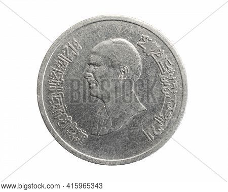 Jordan Five Piastres Coin On A White Isolated Background