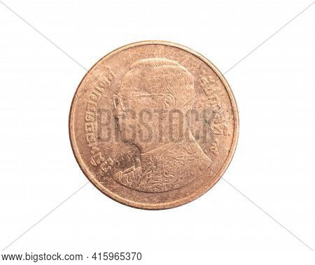 Thailand Fifty Baht Coin On A White Isolated Background