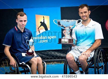 MELBOURNE - 26 janvier : David Wagner (R) gagne les Singles de fauteuil roulant Quad title sur Andrew Lapthorn
