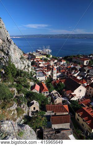 Omis, Croatia. Travel Destinations Of Croatia. Townscape Of Omis.