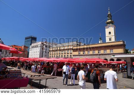 Zagreb, Croatia - June 30, 2019: People Visit Dolac Market Place In Zagreb, Capital City Of Croatia.