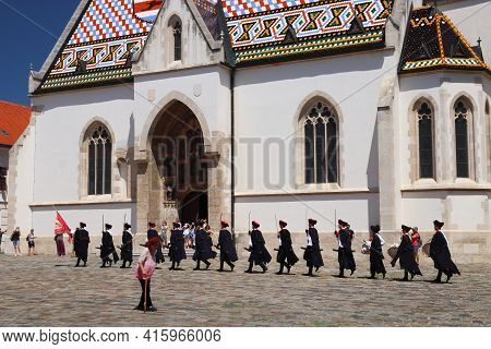 Zagreb, Croatia - June 30, 2019: Guards Ceremony In Zagreb, Capital City Of Croatia. Zagreb Is The L