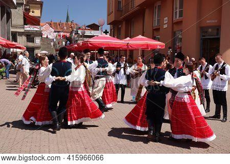 Zagreb, Croatia - June 30, 2019: Croatian Folk Dancers Perform In Traditional Costumes At A Public S