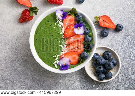 Colorful, Healthy Food. Acai Green Smoothie Bowl. Keto Breakfast Idea.summer Acai Smoothie Bowls Wit