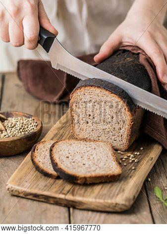 Leavened Bread, Whole Grain Rye Bread With Cannabis, And Wheat Mixed Flour. Sourdough Bread