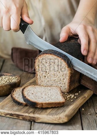 Leavened Bread, Whole Grain Rye Bread With Cannabis, And Wheat Mixed Flour