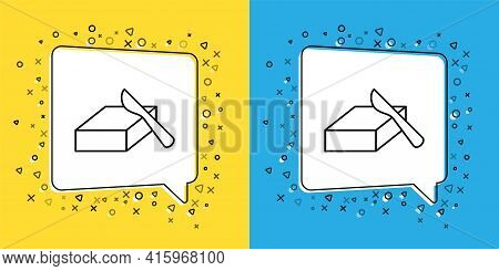 Set Line Butter In A Butter Dish Icon Isolated On Yellow And Blue Background. Butter Brick On Plate.