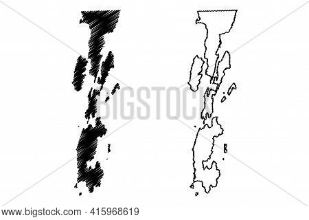 Grand Isle County, State Of Vermont (u.s. County, United States Of America, Usa, U.s., Us) Map Vecto
