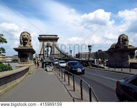 Budapest, Hungary - 12 Jun 2011: Chain Bridge In Budapest, Hungary