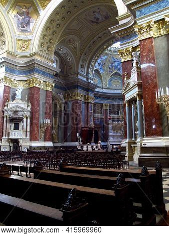 Budapest, Hungary - 12 Jun 2011: St. Stephen Basilica In Budapest, Hungary