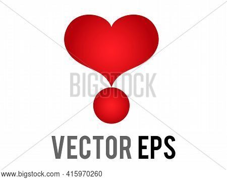 The Isolated Vector Love Red Glossy Love Heart Exclamation Mark Icon, Used For Expressions Of Love P