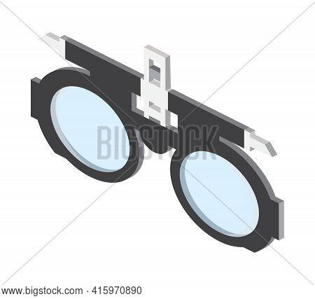 Eyeglasses Isometric Icon Vector. Optician Training Frame Sign. Medical Ophthalmologist Symbol. Eyes