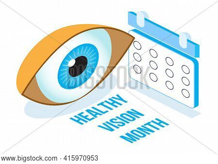 Healthy Vision Month Concept Isometric Vector. Medical Ophthalmologist Eyesight Check Up Illustratio