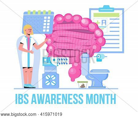 Irritable Bowel Syndrome Awareness Month Observed In April. Ibs Medical Event Concept Vector. Tiny D