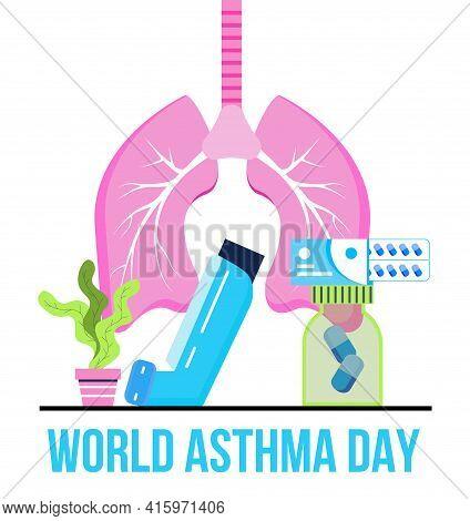 World Asthma Day Concept Vector. Inhaler, Nebulizer Are Shown. Metaphor Of Tuberculosis, Pneumonia,