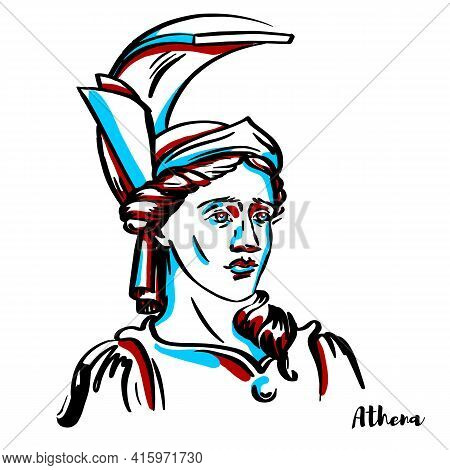Athena Engraved Vector Portrait With Ink Contours On White Background. Is An Ancient Greek Goddess A
