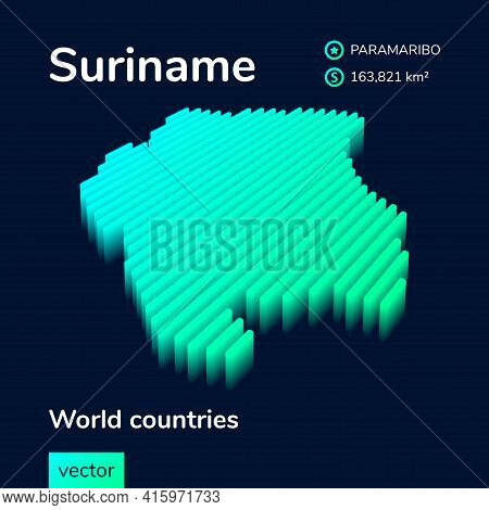 Stylized Neon Simple Digital Isometric Striped Vector Suriname Map, With 3d Effect.  Map Of Suriname
