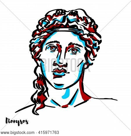 Dionysos Engraved Vector Portrait With Ink Contours On White Background. Dionysus Is The God Of The